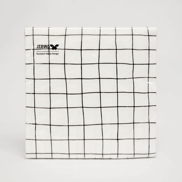 papírové ubrousky bílo černé