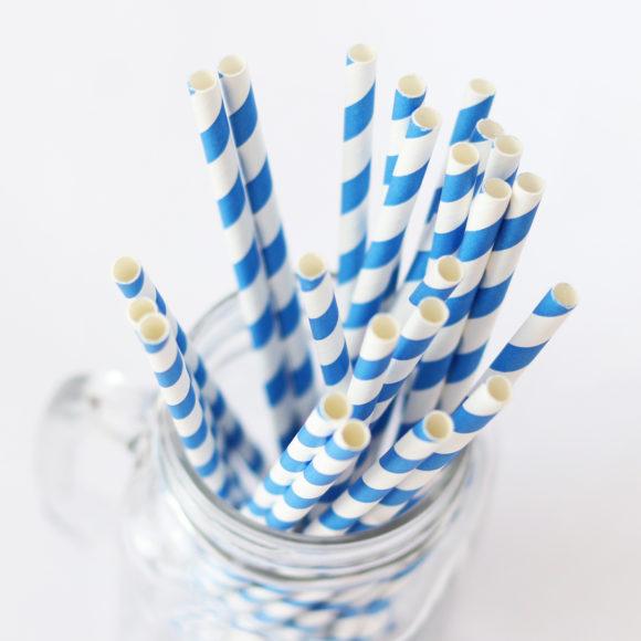 papírová brčka modrá
