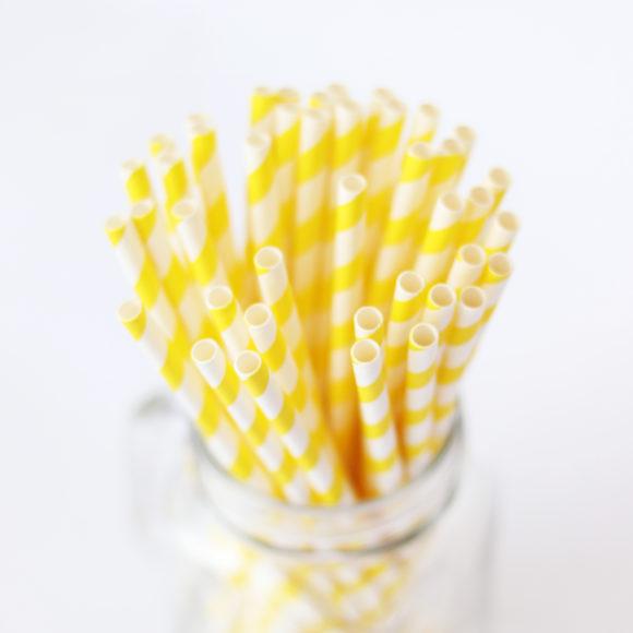 papírová brčka žlutá