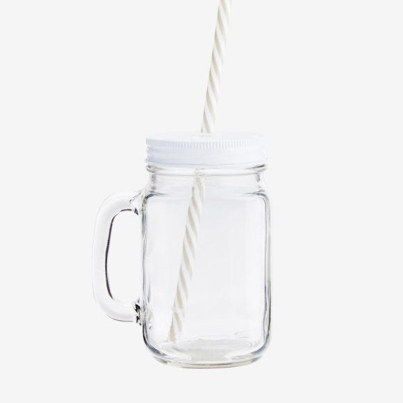 sklenice s brčkem bílé víčko