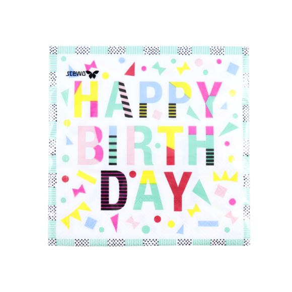papírové ubrousky happy birthday fsc